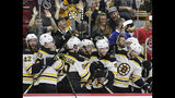 FILE - In this May 16, 2019, file photo, Boston Bruins players celebrate during the closing moments in Game 4 of the team's NHL hockey Stanley Cup Eastern Conference final victory over against the Carolina Hurricanes in Raleigh, N.C. The Bruins will face the St. Louis Blues in Game 1 of the Stanley Cup Final on Monday, May 27, 2019, in Boston. (AP Photo/Gerry Broome, File)