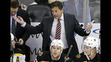 FILE - In this March 10, 2019, file photo, Boston Bruins head coach Bruce Cassidy gives instructions during the first period of an NHL hockey game against the Pittsburgh Penguins in Pittsburgh. Cassidy's Bruins will face the St. Louis Blues in Game 1 of the Stanley Cup Final on Monday, May 27, 2019, in Boston. (AP Photo/Gene J. Puskar, File)