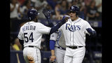 Tampa Bay Rays' Avisail Garcia celebrates with Guillermo Heredia (54) after Garcia hit a three-run home run off Los Angeles Dodgers relief pitcher Dylan Floro during the seventh inning of a baseball game Wednesday, May 22, 2019, in St. Petersburg, Fla. (AP Photo/Chris O'Meara)