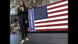Democratic presidential candidate Sen. Kamala Harris, D-Calif., reacts to greeting supporters as she takes to stage during her first campaign organizing event at Los Angeles Southwest College in Los Angeles on Sunday, May 19, 2019. (AP Photo/Richard Vogel)