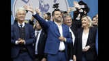 FILE - In this Saturday May 18, 2019 file photo, from left, Geert Wilders, leader of the Dutch Party for Freedom, Italy's Matteo Salvini, Jorg Meuthen, leader of the Alternative For Germany party, and Marine Le Pen, attend a rally ahead of the May 23-26 European Parliamentary elections, in Milan, Italy. The European Parliament elections have never been so hotly anticipated or contested, with many predicting that this year's ballot will mark a coming-of-age moment for the euroskeptic far-right movement. The elections start Thursday May 23, 2019 and run through Sunday May 26 and are taking place in all of the European Union's 28 nations. (AP Photo/Luca Bruno, File)