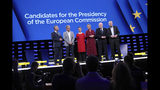 FILE - In this Wednesday, May 15, 2019 file photo, from left, Czech Republic's Jan Zahradil, Spain's Nico Cue, Germany's Ska Keller, Denmark's Margrethe Vestager, Netherland's Frans Timmermans and Germany's Manfred Weber pose on stage prior to a debate of the candidates to the presidency of the Commission at the European Parliament in Brussels. The European Parliament elections have never been so hotly anticipated or contested, with many predicting that this year's ballot will mark a coming-of-age moment for the euroskeptic far-right movement. The elections start Thursday May 23, 2019 and run through Sunday May 26 and are taking place in all of the European Union's 28 nations. (AP Photo/Francisco Seco, File)