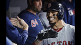 Boston Red Sox right fielder Mookie Betts (50) celebrates his home run with teammates during the 12th inning of a baseball game against the Toronto Blue Jays on Wednesday, May 22, 2019, in Toronto. (Nathan Denette/The Canadian Press via AP)