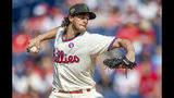 Philadelphia Phillies starting pitcher Aaron Nola throws during the first inning of a baseball game against the Colorado Rockies, Saturday, May 18, 2019, in Philadelphia. (AP Photo/Laurence Kesterson)