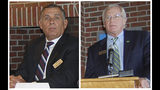 FILE - This combination of Sept. 27, 2012, file photos, show Jay Peak Resort co-owner Ariel Quiros, left, and Jay Peak Resort co-owner and CEO Bill Stenger at a news conference in Newport, Vt. Fraud charges were filed Wednesday, May 22, 2019, against former Jay Peak owner Ariel Quiros, of Florida, and former president, William Stenger, of Newport. The pair are accused in a multimillion-dollar fraud case on multiple federal charges over a failed plan to build a biotech facility using foreign investors' money. (Robin Smith/Caledonian-Record via AP, File)
