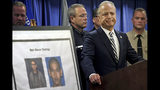 FILE - In this April 29, 2019, file photo, United States Attorney Nick Hanna stands next to photos of Mark Steven Domingo during a news conference in Los Angeles. A federal grand jury has indicted the U.S. Army veteran for allegedly plotting to plant a bomb at a planned rally by white supremacists in California. The U.S. Attorney's office says Wednesday, May 22, 2019, that the indictment charges Domingo with providing material support to terrorists and attempted use of a weapon of mass destruction. (AP Photo/Richard Vogel, File)