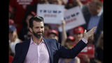 Donald Trump Jr., gestures at a rally for his father, President Donald Trump in Montoursville, Pa., Monday, May 20, 2019. (AP Photo/Matt Rourke)