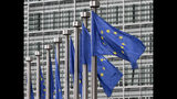 FILE - In this May 9, 2011 file photo, EU flags fly outside the European Commission headquarters in Brussels. Disinformation has evolved beyond the playbook used by Russian trolls in the U.S. election. As the European Union gears up for a crucial election, it is domestic groups rather than foreign powers that are taking to social media to push false information and extremist messages, experts say. (AP Photo/Yves Logghe, File)