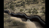 FILE - This March 2, 2019 photo shows a Customs and Border Control agent patrols on the US side of a razor-wire-covered border wall along the Mexico east of Nogales, Ariz. A surge of asylum-seeking families that has strained cities along the southern U.S. border for months is now being felt in cities far from Mexico. Immigrants are being housed in airplane hangars and rodeo fairgrounds, while local authorities are struggling to keep up with the influx.(AP Photo/Charlie Riedel)