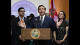 FILE- In this May 9, 2019 file photo. Florida Gov. Ron DeSantis, second from right, speaks during a bill signing ceremony at the William J. Kirlew Junior Academy, in Miami Gardens, Fla. A surge of asylum-seeking families has been straining cities along the southern U.S. border for months, but now the issue is flowing into cities far from Mexico, where immigrants are being housed in airplane hangars and rodeo fairgrounds and local authorities are struggling to keep up with the influx. (AP Photo/Lynne Sladky, File)