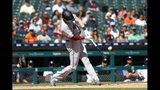 Miami Marlins' Garrett Cooper hits a grand slam in the ninth inning of a baseball game against the Detroit Tigers in Detroit, Thursday, May 23, 2019. (AP Photo/Paul Sancya)