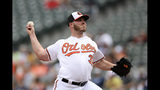 Baltimore Orioles starting pitcher Dylan Bundy delivers a pitch during the first inning of a baseball game against the New York Yankees, Thursday, May 23, 2019, in Baltimore. (AP Photo/Nick Wass)