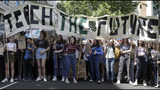 Young demonstrators take part in a demonstration organised by 'Global Strike 4 Climate' near Parliament in London, Friday, May 24, 2019. (AP Photo/Kirsty Wigglesworth)