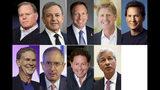 Los jefes de las grandes empresas ganan cada vez más dinero, según un sondeo de Equilar hecho a solicitud de AP. Arriba de izq a der: David Zaslav, Discovery, $129,5 millones; Robert Iger, Walt Disney, $65,6 millones; Stephen MacMillan, Hologic, $42 millones; Joseph Hogan, Align Technology, $41,8 millones y Daniel Schulman, PayPal, $37,8 millones. Abajo de izq a der: Reed Hastings, Netflix, $36,1 millones; Brian Roberts, Comcast, $35 millones; Robert Kotick, Activision Blizzard, $30,8 millones y James Dimon, JPMorgan Chase, $30 millones. No está la foto del tercero con más remuneración Richard Handler de Jefferies Financial Group, quien ganó $44,7 millones. (AP Photo)