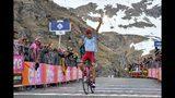El ruso Ilnur Zakarin festeja al cruzar primero la meta para ganar la 13ra etapa del Giro de Italia, en el Lago Serrú, el viernes 24 de mayo de 2019. (Alessandro Di Meo/ANSA via AP)