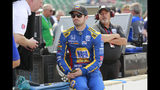 Alexander Rossi sits in the pit area before the start of the final practice session for the Indianapolis 500 IndyCar auto race at Indianapolis Motor Speedway, Friday, May 24, 2019, in Indianapolis. (AP Photo/R Brent Smith)
