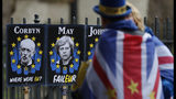 In this Tuesday, April 2, 2019 file photo, an anti Brexit protester looks at placards showing pictures of British politicians as she demonstrates outside the Houses of Parliament in London. (AP Photo/Alastair Grant, File)