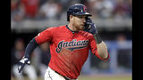 Cleveland Indians' Jordan Luplow watches his solo home run off Tampa Bay Rays starting pitcher Blake Snell during the fourth inning of a baseball game Friday, May 24, 2019, in Cleveland. (AP Photo/Tony Dejak)