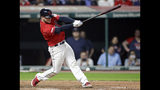 Cleveland Indians' Roberto Perez hits an RBI single off Tampa Bay Rays relief pitcher Jose Alvarado during the eighth inning of a baseball game Friday, May 24, 2019, in Cleveland. Francisco Lindor scored on the play. The Indians won 3-1. (AP Photo/Tony Dejak)