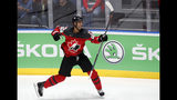 Canada's Darnell Nurse celebrates after scoring his side's second goal during the Ice Hockey World Championships semifinal match between Canada and Czech Republic at the Ondrej Nepela Arena in Bratislava, Slovakia, Saturday, May 25, 2019. (AP Photo/Petr David Josek)