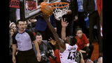 Toronto Raptors forward Pascal Siakam (43) recovers the ball after it hit the rim during the second half of Game 6 of the team's NBA basketball playoffs Eastern Conference finals against the Milwaukee Bucks on Saturday, May 25, 2019, in Toronto. (Frank Gunn/The Canadian Press via AP)