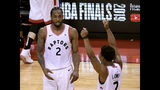 Toronto Raptors' Kawhi Leonard (2) and Kyle Lowry (7) react during the second half of Game 6 of the team's NBA basketball playoffs Eastern Conference finals against the Milwaukee Bucks on Saturday, May 25, 2019, in Toronto. The Raptors won 100-94 to advance to the NBA Finals. (Frank Gunn/The Canadian Press via AP)