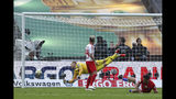 Bayern's Robert Lewandowski, right, scored a goal against RB Leipzig during the German soccer cup, DFB Pokal, final match between RB Leipzig and Bayern Munich at the Olympic stadium in Berlin, Germany, Saturday, May 25, 2019. (AP Photo/Matthias Schrader)