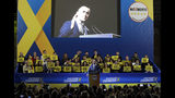 Five-Star Movement leader and Italian Deputy-Premier Luigi Di Maio addresses a rally ahead of Sunday's European Elections, in Rome, Friday, May 24, 2019. Some 400 million Europeans from 28 countries head to the polls from Thursday to Sunday to choose their representatives at the European Parliament for the next five years. (AP Photo/Andrew Medichini)