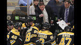 FILE - In this April 11, 2019, file photo, Boston Bruins coach Bruce Cassidy gestures to his players during the third period of Game 1 of an NHL hockey first-round playoff series against the Toronto Maple Leafs in Boston. Two roads diverged in a crazy world of hockey and brought them to this Stanley Cup Final. Cassidy has guided the Boston Bruins to this point a decade and a half after a disastrous tenure in Washington, and Berube took the St. Louis Blues from worst to their first final since 1970 several years after a short stint in Philadelphia. (AP Photo/Charles Krupa, File)