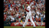 Washington Nationals starter Patrick Corbin (46) reacts after pitching a complete baseball game shutout against the Miami Marlins, Saturday, May 25, 2019, in Washington. (AP Photo/Jacquelyn Martin)