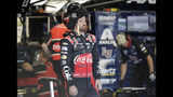 Austin Dillon waits as he crew prepares his car before practice for Sunday's NASCAR Cup Series auto race at Charlotte Motor Speedway in Concord, N.C., Saturday, May 25, 2019. (AP Photo/Chuck Burton)
