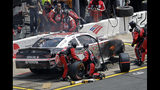 Fire erupts from the car of driver Christopher Bell during the NASCAR Xfinity Series auto race at Charlotte Motor Speedway in Concord, N.C., Saturday, May 25, 2019. (AP Photo/Chuck Burton)