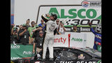 Tyler Reddick celebrates in Victory Lane after winning the NASCAR Xfinity Series auto race at Charlotte Motor Speedway in Concord, N.C., Saturday, May 25, 2019. (AP Photo/Chuck Burton)