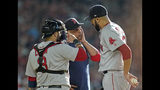 Boston Red Sox manager Alex Cora, center, talks with starting pitcher David Price, right, as catcher Sandy Leon (3) joins them on the mound during the first inning of a baseball game against the Houston Astros Saturday, May 25, 2019, in Houston. Price left the game after their discussion. (AP Photo/David J. Phillip)