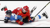 Finland's Kaapo Kakko, left, collides with Russia's Nikita Zaitsev, right, during the Ice Hockey World Championships semifinal match between Russia and Finland at the Ondrej Nepela Arena in Bratislava, Slovakia, Saturday, May 25, 2019. (AP Photo/Petr David Josek)