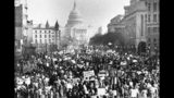 FILE - In this Jan. 22, 1981 file photo, several thousand marchers, protesting the 8-year-old Supreme Court decision permitting abortions, march down Pennsylvania Avenue in Washington toward the U.S. Capitol building. There have been major shifts in anti-abortion tactics. Compared to the 1990s, there are fewer mass demonstrations and clinic blockades, and far more success passing anti-abortion laws in Republican-controlled state legislatures. In the five years preceding this year's sweeping bans, scores of other laws have been passed to restrict abortion access. (AP Photo/Herbert K. White)