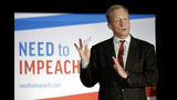 "FILE - In this March 13, 2019, photo, billionaire investor and Democratic activist Tom Steyer speaks during a ""Need to Impeach"" town hall event in Agawam, Mass. Steyer claims that President Donald Trump meets the criteria for impeachment. Rising disagreement among congressional Democrats over whether to pursue impeachment of President Donald Trump has had little effect on the party's presidential candidates, who mostly are avoiding calls to start such an inquiry. (AP Photo/Steven Senne, File)"