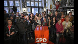 Social Democrats looking disappointed after the first results of the federal state elections in Bremen, Germany, Sunday, May 26, 2019. (Christophe Gateau/dpa via AP)