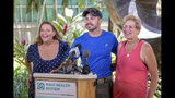 From left, Sarah Haynes, rescue lead Javier Cantellops, and Julia Eller, mother of Amanda Eller, speaks during a news conference about the rescue of Amanda Eller on Saturday, May 25, 2019 in Wailuku, Maui. The Maui News reported Friday Amanda Eller was found injured in the Makawao Forest Reserve. Family spokeswoman Sarah Haynes confirmed she spoke with Eller's father John. Eller was airlifted to safety. (Bryan Berkowitz/Honolulu Star-Advertiser via AP)