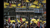 """Pro-democracy protesters carry a banner with Chinese reads """"Vindicate June 4th"""" during a demonstration in Hong Kong, Sunday, May 26, 2019. A vigil will be held on June 4 at the Victoria Park to mark the 30th anniversary of the military crackdown on the pro-democracy movement at Beijing's Tiananmen Square on June 4, 1989. (AP Photo/Kin Cheung)"""