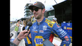 Alexander Rossi speaks with the media after his second-place finish in the Indianapolis 500 IndyCar auto race at Indianapolis Motor Speedway, Sunday, May 26, 2019, in Indianapolis. (AP Photo/AJ Mast)
