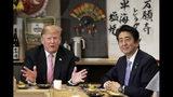 U.S. President Donald Trump, left, speaks as he dines with Japan's Prime Minister Shinzo Abe at the Inakaya restaurant in the Roppongi district of Tokyo, Sunday, May 26, 2019. (Kiyoshi Ota/Pool Photo via AP)