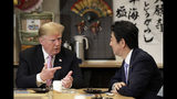 U.S. President Donald Trump, left, speaks with Japan's Prime Minister Shinzo Abe while sitting at a counter during a dinner at the Inakaya restaurant in the Roppongi district of Tokyo, Sunday, May 26, 2019. (Kiyoshi Ota/Pool Photo via AP)