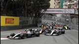 Mercedes driver Lewis Hamilton of Britain steers his car in front of Mercedes driver Valtteri Bottas of Finland and Red Bull driver Max Verstappen of the Netherland's during the Monaco Formula One Grand Prix race, at the Monaco racetrack, in Monaco, Sunday, May 26, 2019. (AP Photo/Luca Bruno)