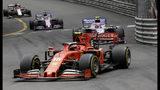 Ferrari driver Charles Leclerc of Monaco steers his car during the Monaco Formula One Grand Prix race, at the Monaco racetrack, in Monaco, Sunday, May 26, 2019. (AP Photo/Luca Bruno)