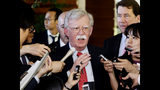 "FILE - In this Friday, May 24, 2019, file photo, U.S. National Security Adviser John Bolton is surrounded by reporters at the prime minister's official residence in Tokyo, Japan. North Korea on Monday, May 27, 2019, has called U.S. National Security Adviser Bolton a ""war monger"" and ""defective human product"" after he called the North's recent tests of short-range missile a violation of U.N. Security Council resolutions. (Yohei Kanasashi/Kyodo News via AP, File)"