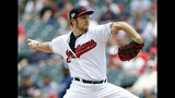 Cleveland Indians starting pitcher Trevor Bauer delivers against the Tampa Bay Rays during the first inning of a baseball game, Sunday, May 26, 2019, in Cleveland. (AP Photo/Ron Schwane)