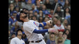 Chicago Cubs' Kris Bryant reacts after hitting a foul ball during the ninth inning of a baseball game against the Cincinnati Reds, Friday, May 24, 2019, in Chicago. (AP Photo/Nam Y. Huh)