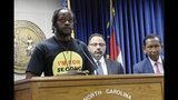 """In this May 8, 2019 photo, Durham resident Poet Williams, 28, speaks at a press conference in Raleigh, N.C., about the """"Second Chance Act,"""" which would give more people in North Carolina a chance to expunge their criminal record. Williams currently has three nonviolent misdemeanors on his record, which he said has been an obstacle in getting a job or apartment. (AP Photo/Amanda Morris)"""