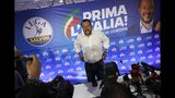 Interior Minister and Deputy Premier Matteo Salvini arrives for a press conference at the League's headquarters, in Milan, Italy, Monday, May 27, 2019. The League party of Italy's hard-line interior minister was one of the biggest winners in the European elections, with sky-rocketing support that bolsters his role as the flagbearer of the nationalist and far-right forces in Europe and could also shake up politics at home. (AP Photo/Antonio Calanni)